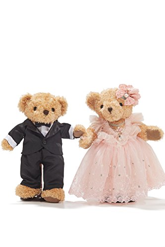 "Wedding Teddy Bears Just Married Bear Couple Newlyweds Toy Set 12"" (light brown, black, pale pink)"