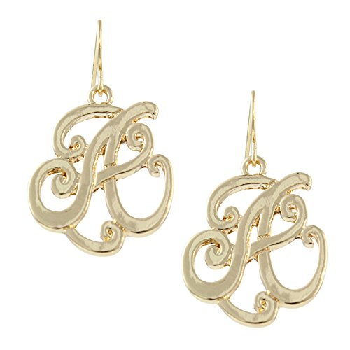 Letter A Monogram Initial Preppy Gold Tone Scrollwork Dangle Earrings