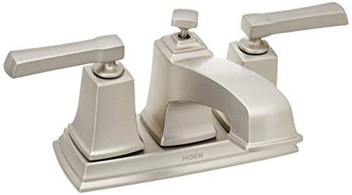 (Moen WS84800SRN Boardwalk Two-Handle Low Arc Bathroom Faucet Spot Resist Brushed Nickel )