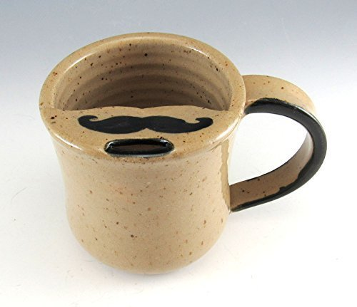 Cup Moustache (Hand Made Pottery Mustache Mug/Pottery Moustache Mug/Mustache Cup 8-9 ounces)