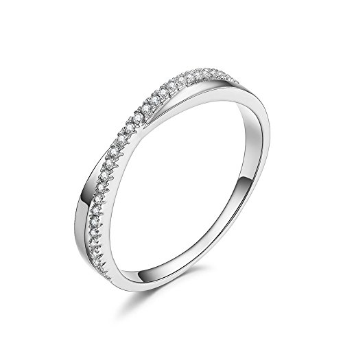 - DIFINES Redbarry Fashion Criss Cross X 18k White Gold Plated CZ Diamond Promise Eternity Rings Wedding Band, Size 7