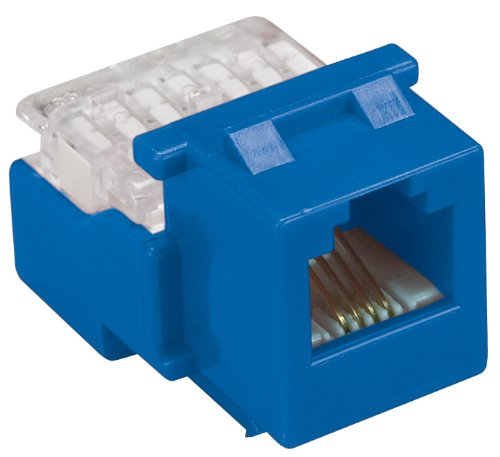 Allen Tel AT24-20 Category 3 Compact Jack Module, Blue, 1 Port, EIA/TIA 568A/B Wiring, 110 Termination, 4 Conductor