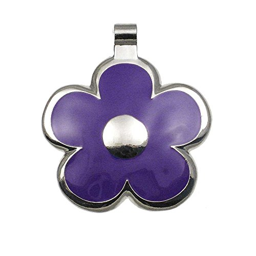 LuckyPet Pet ID Tag - Flower Jewelry Tag - Dog Tag & Cat Tag - Easy to Read Engraving on Back Side - Size: Large, Color: Purple