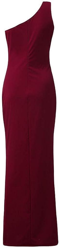 AMhomely Women Dresses Sale Womens One Shoulder Ruched Ruffle Formal Evening DressSlim Dresses Plus Size Dress Party Elegant Dress Vintage Dress UK Size