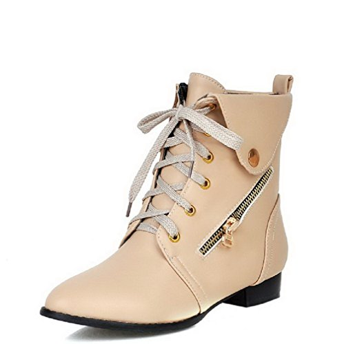 AmoonyFashion Womens Low-Heels Solid Round Closed Toe Soft Material Lace-Up Boots Beige xncwK3gKN