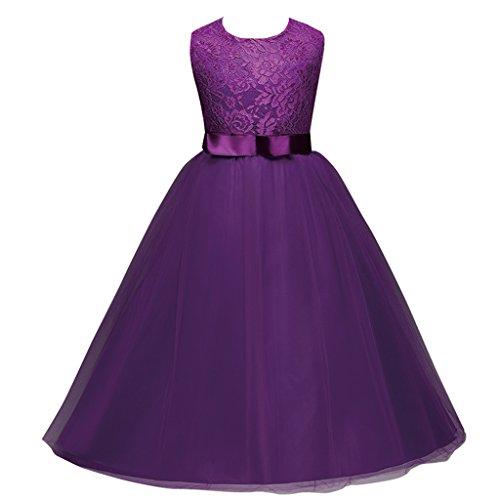 FantastCostumes Girl Princess Sleeveless Lace Dress(Purple,140)