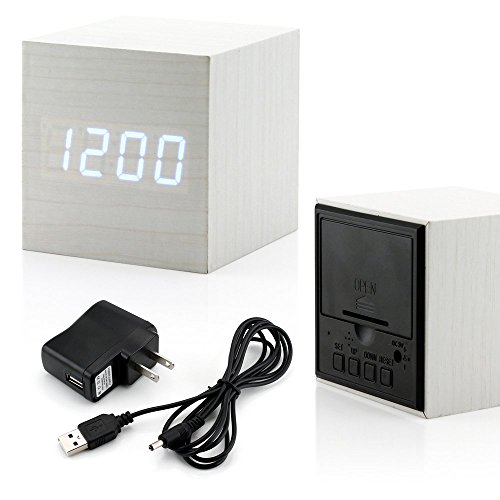 Modern Square Clock (GEARONIC TM Ultra Modern Wooden LED Clock Square Cube Digital Alarm Thermometer Timer Calendar Updated 2016 Brighter LED -)