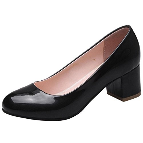 TAOFFEN Women's Block Heel Court Shoes Black