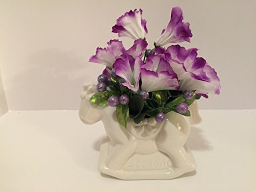 ANIMAL FUN - ROCKING HORSE CERAMIC VASE - WHITE AND PURPLE MORNING GLORIES AND PURPLE GLITTER BALLS (Rocking Horse Cottage)