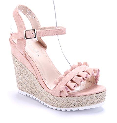 Schuhtempel24 Damen Schuhe Keilsandaletten Sandalen Sandaletten Keilabsatz 11 cm High Heels Rosa