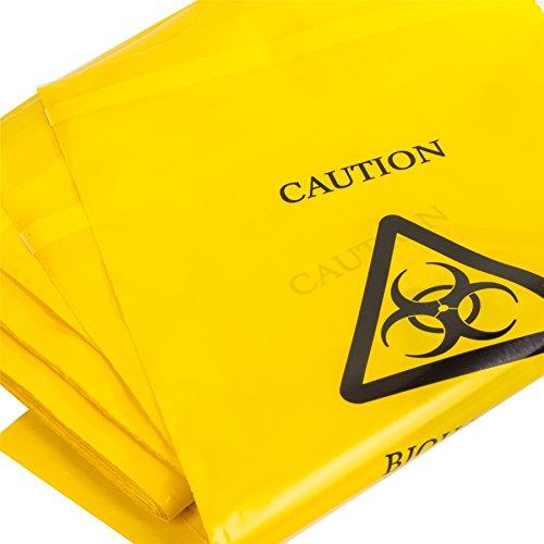 10 x Gelb Biohazard Staubbeutel – 35 cm x 20 cm – Selbst Seal klinischen Sick/Erbrechen Entsorgung