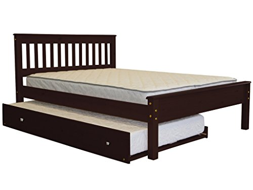 Bedz King Mission Style Full Bed with a Twin Trundle, Cappuccino