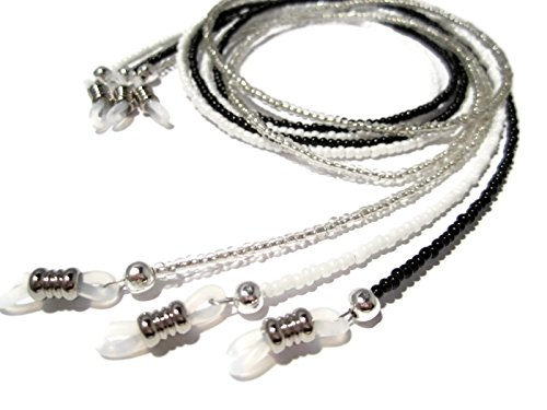 Set of Three Eyeglass Chains- Black, White, Silver
