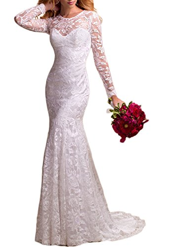 BKSKK Women's Elegant Lace Long Sleeve Bride Mermaid Dress Wedding Dress (US 22W, Ivory)