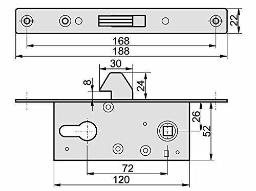Hakenschloss Einsteckschloss Schiebet/ürschloss H 60 Schiebetore mit Gegenplatte