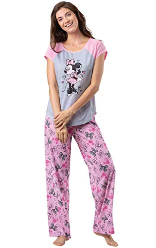 PajamaGram Disney Pajamas Women - Womens Pajama Set, Minnie Mouse, Pink, XL, 16