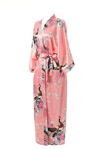 Long Magenta Printed Women's Pockets ROBE Lotus Robe J with Kimono Kimono Robe Silk FqOIW7Aw