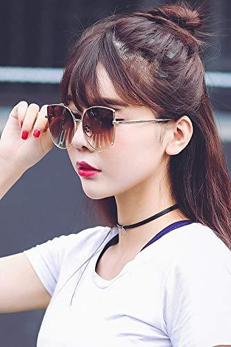 2018 Fashion cat-Eye Sunglasses Personality Avant-Garde Metal Round face, Sunglasses Glasses Tide Street Shooting (Gold Frame Gradient Tea Tablets