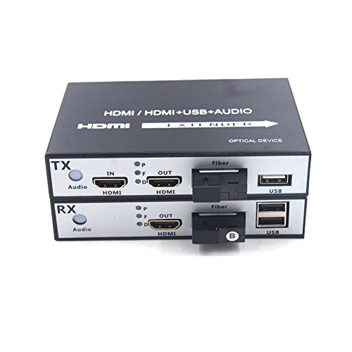 Guantai Premium HDMI Extender- HD 1080p HDMI Signal Over Fiber Optic Transmitter Receiver Set with KVM, SC Fiber Port, Working Distance up 20Km