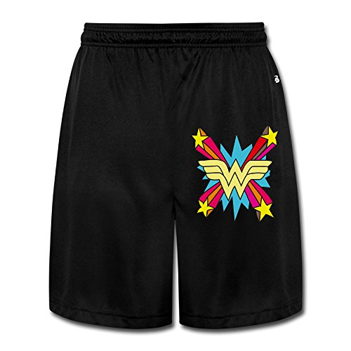 AOLM Mens Performance Shorts Sweatpants Trousers Colorful Wonder Logo Black XXL.