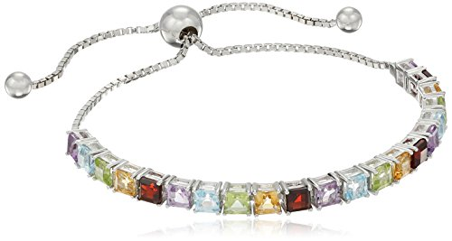 Cut Multi Gemstone Bracelet (Sterling Silver Multi Princess Cut Gemstone Adjustable Bracelet)