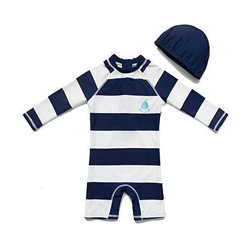 - upandfast Kids One Piece Zip Sunsuit with Sun Hat UPF 50+ Sun Protection Baby Beach Swimsuit (Stripe(LS), 24-36 Months)
