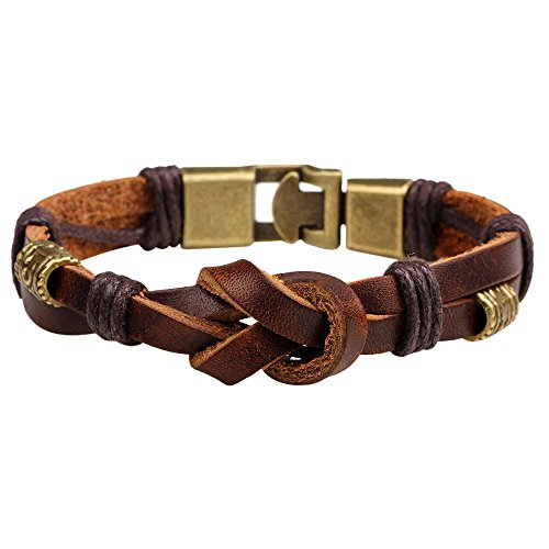 The November Nocturne Retro Handmade Weave Personality 2 Row Brown Leather Unisex Wrap Bracelet