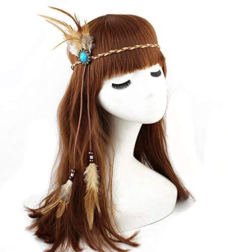 (Women Handmade Indian Feather Headdress with Blue Gemstone Gypsy Hippie Feather Headband Bohemian Headwear Headpiece Tribal Fascinator Feather)