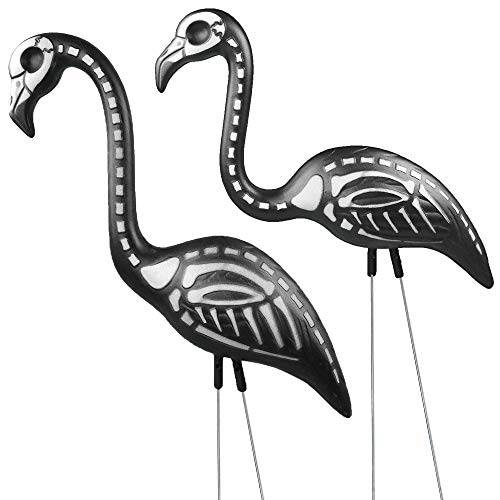 Skeleteen Zombie Skeleton Flamingo Yard Ornaments with Stakes, Pack of 2 -