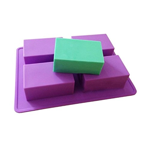 Allforhome(TM) 4 Cavity Plain Basic Rectangle Soap Mold Handsize Silicone Mould for Homemade DIY Soap Making