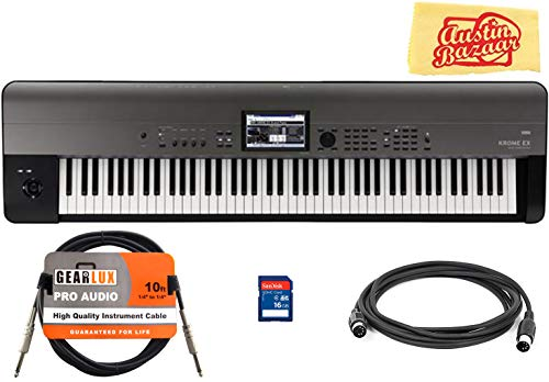Korg KROME-EX 88-Key Music Workstation Keyboard & Synthesizer Bundle with SD Card, Instrument Cable, Midi Cable, and Austin Bazaar Polishing Cloth