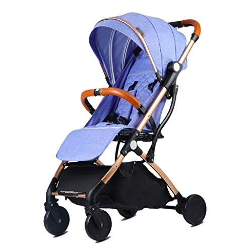 (Height-Adjustable Baby Strollers Plane Lightweight Portable Travelling Prams Children Pushchair 4 Wheels Baby pushchairs (Color : Denim Blue, Size : 663698cm))