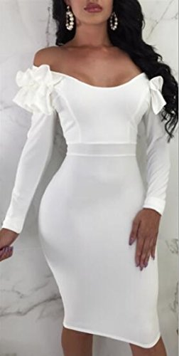 Bodycon Sleeve White Ruffle Long Sexy Midi Deep Dress V Neck Womens Jaycargogo t7wqP8AU