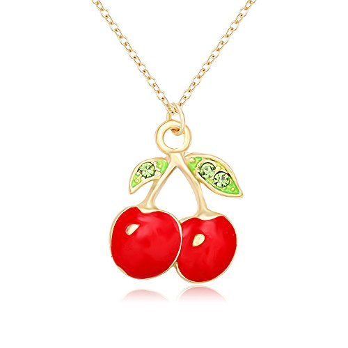 MANZHEN Summer Chic Necklace Gold Tone Enamel Red Crystal Cherry Pendant Necklace/Fruit Earring (Necklace-Gold)