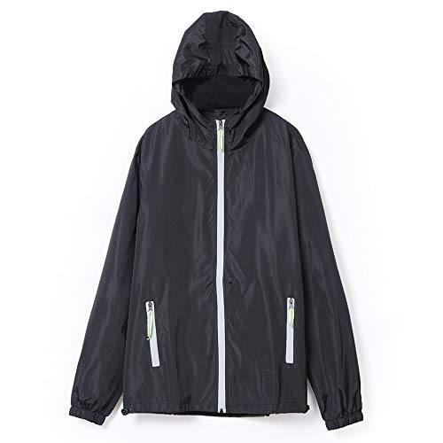 Mount Marter Men's Jacket Waterproof, Windproof, Breathable, and Lightweight Rain Jacket with Hood(L.Black)