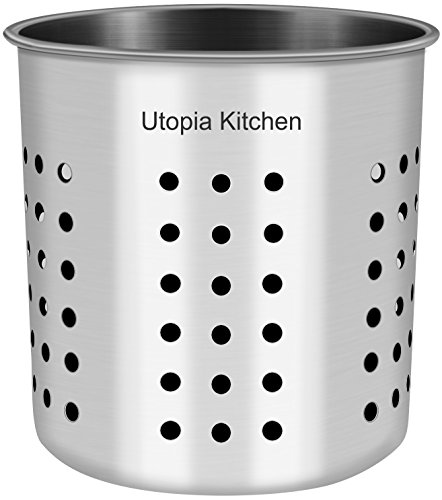 Kitchen Utensil Holder - Utensil Container - Utensil Cock - Flatware Caddy - Brushed Stainless Steel Cookware Cutlery Utensil Holder with Drain Holes - By Utopia Kitchen