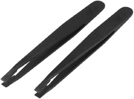 uxcell 静電防止 ピンセット 長さ4.5cm 平坦な先端 反磁性 ブラック プラスチック製 2本入り