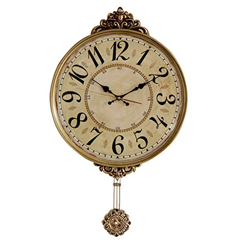 Shabby Chic Vintage ABS Pendulum Wall Clocks Creative Silent Non-Ticking Hanging Watch for Living Room Bedroom Kitchen (Size : 20inch)