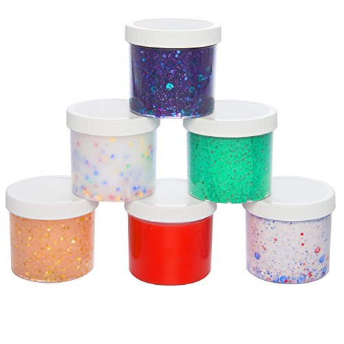 Slime Storage Jars 12oz (6 Pack) - Maddie Raes Clear Containers for All Your Glue Putty Making