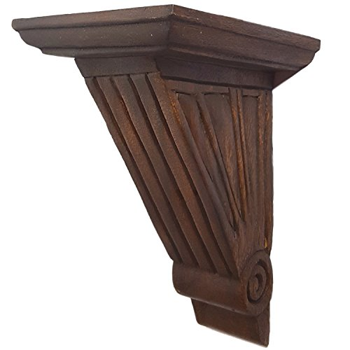 CinMin 10.5 Inch Handcarved Art Deco Corbel Wood Wall Bracket/Floating Shelf (Palermo-Oak Finish)