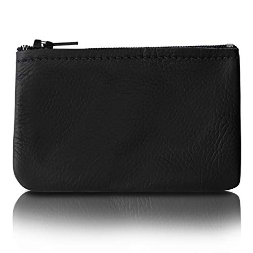 Purse Mens - Zippered Coin Pouch, Change holder For Men/Woman made with Genuine Leather, Coin Purse, Pouch Size 4x2.5 inches, Made IN USA (Black)