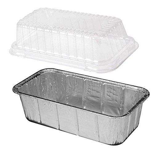 Handi-Foil 2 lb. Aluminum Foil Loaf Bread Pan w/Clear Plastic High Dome Lid 50 Pack (50 Sets)