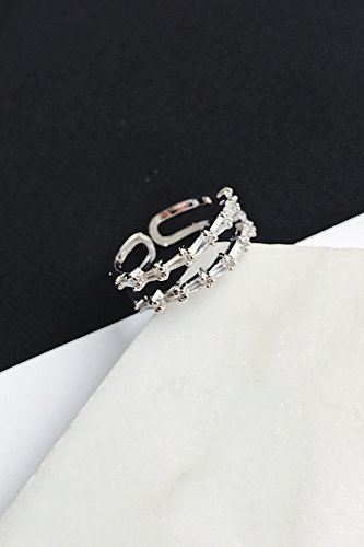 Solitaire Double Deck - Unique Diamond Ring Influx People Women Girls Ring Geometry Personalized Fashion Jewelry Ring Opening Index Finger Ring Exaggerated (jz42 Double Deck Silver Jewels