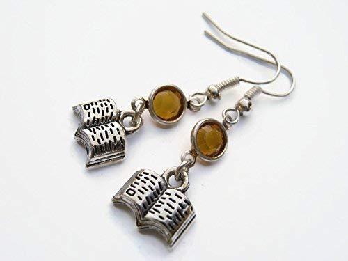 Book Birthstone Earrings, Literature Earrings, Personalized Writer Earrings, Librarian Gift