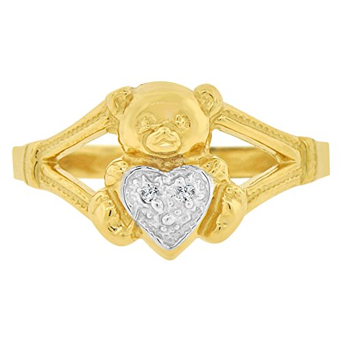 14k Yellow Gold White Rhodium, Teddy Bear Heart Ring Created CZ Crystals Size (Teddy Bear Yellow Ring)