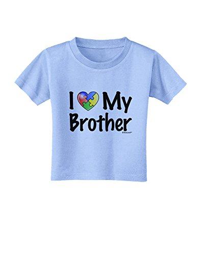 TooLoud I Heart My Brother - Autism Awareness Toddler T-Shirt - Aquatic Blue - 3T ()