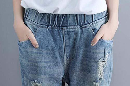 Di Comodo Pantaloni Ingrassano Donna Keephen Jeans Dimensioni Bucati Blu Grandi Nuovo I IT7S6