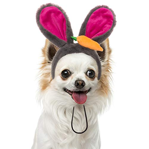 PAWCHIE Easter Bunny Ears Headband for Dogs - Rabbit Dress Up Cosplay Party Costume Accessory