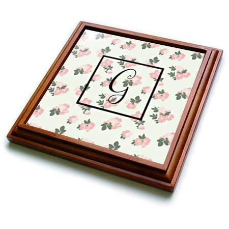3dRose 3dRose Gabriella B - Monogram - Image of Pink Floral G Monogram - 8x8 Trivet with 6x6 ceramic tile (trv_290944_1) -