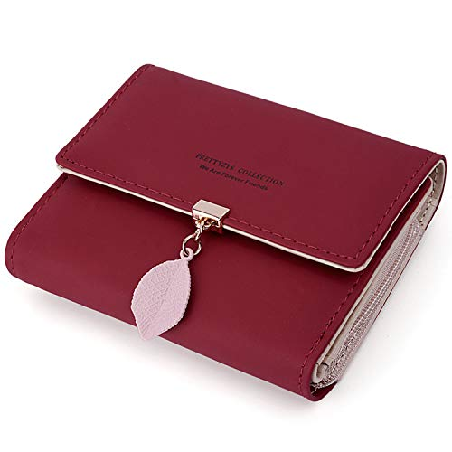 UTO Small Wallet for Women PU Leather Leaf Pendant Card Holder Organizer Zipper Coin Purse Red ()